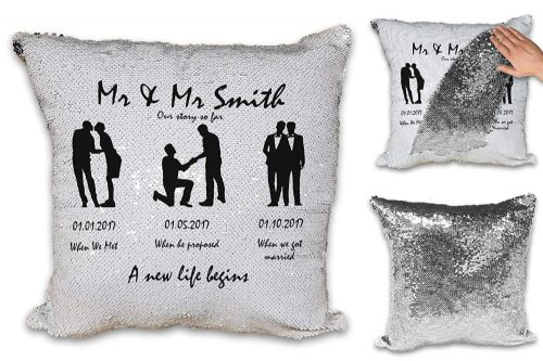 Personalised Mr & Mr Our Story So Far A New Life Begins  Sequin Magic Reveal Cushion Cover